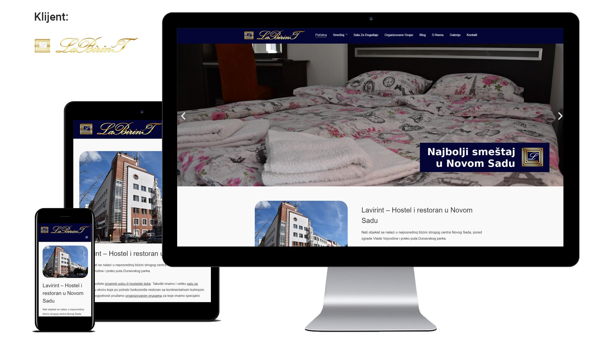 Labirint - Izrada web sajta za hostel u Novom Sadu